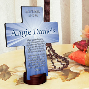 "Personalized ""Starburst"" Cross with Stand"