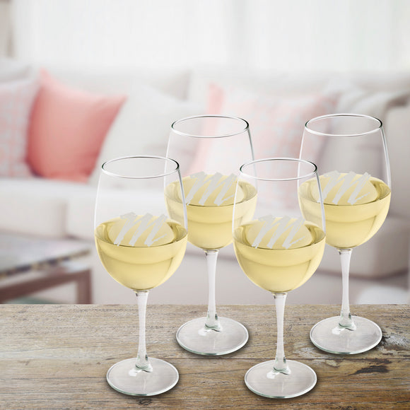 White Wine Glass Quartet Set With Script Initial