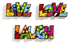 "ROMERO BRITTO ""LIVE, LOVE, LAUGH"" WORD ART COLLECTION"