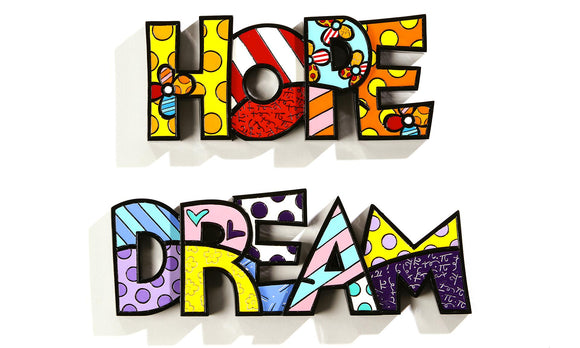 ROMERO BRITTO HOPE & DREAM WORD ART SET