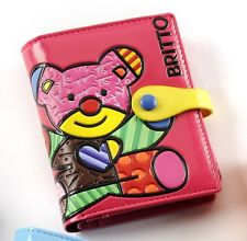 ROMERO BRITTO PASSPORT COVER PINK WITH TEDDY BEAR