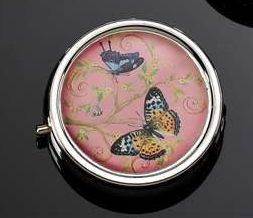 BUTTERFLY WITH PINK BACKGROUND PILL BOX WITH DIVIDERS & MIRROR