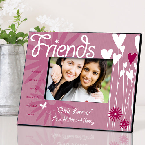 Personalized Friends Hearts and Flowers Picture Frame