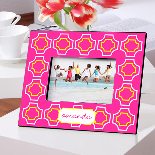 Personalized Pink Lattice Picture Frame