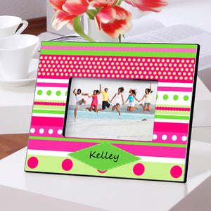 Personalized Pink Polka Dots Picture Frame
