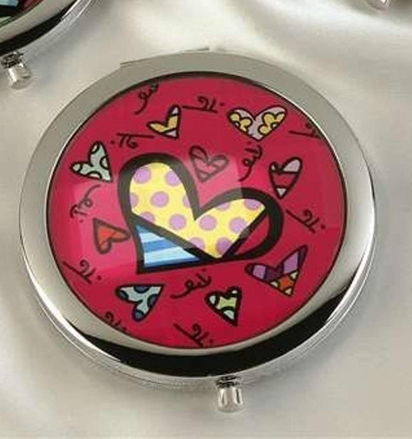 ROMERO BRITTO COMPACT WITH MIRRORS- PINK WITH HEARTS DESIGN