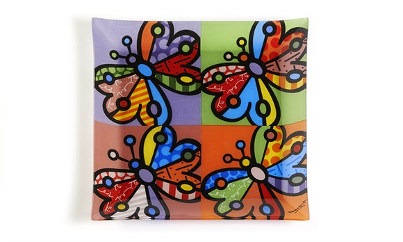 ROMERO BRITTO PAINTED GLASS PLATE- BUTTERFLY DESIGN