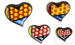 ROMERO BRITTO PAINTED GLASS PLATES- HEARTS SET OF 3