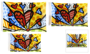 ROMERO BRITTO PAINTED GLASS PLATES- A NEW DAY DESIGN SET OF 3
