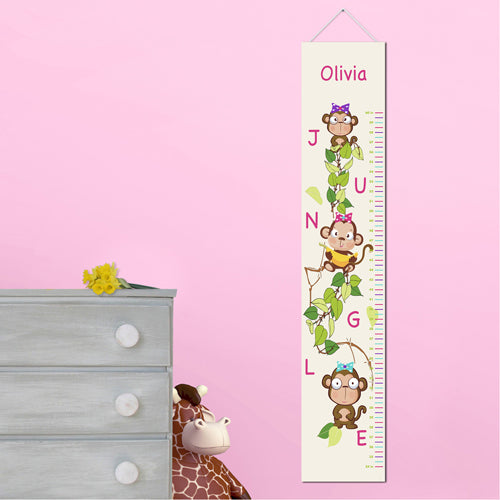 Personalized Pretty Monkeys Growth Chart
