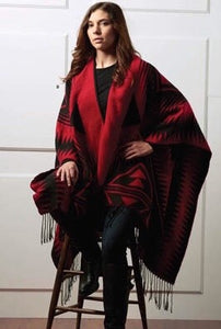 RED & BLACK WOVEN SOUTHWEST CAPE WITH FRINGE