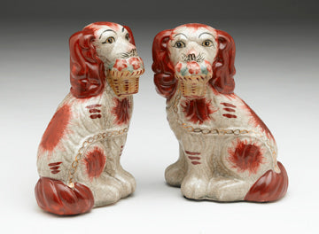 Staffordshire Reproduction Dog Pair With Baskets- Red/Rust Colored with Crackled Finish