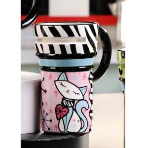 Retro Ceramic Cat Travel Mug