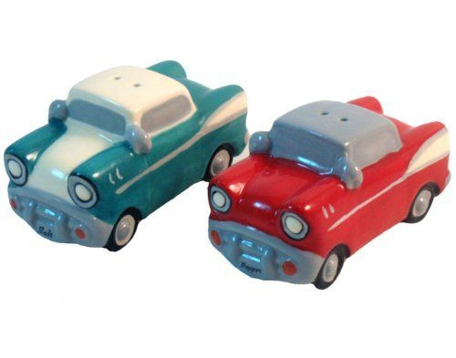 Retro Ceramic Hot Rod Cars Salt and Pepper Shaker Set