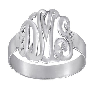 Monogram Sterling Silver Script Cutout Ring