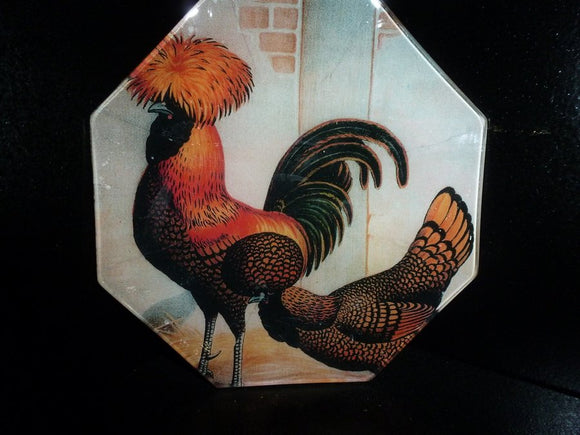 Goudlaken Paduas Roosters Octagon Decoupage Tray