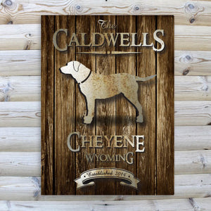 "Personalized ""Rustic Wood Cabin"" Canvas Sign"