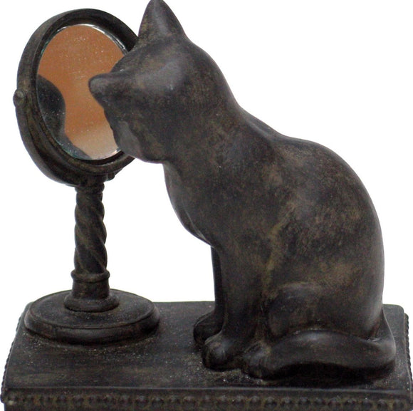 Cat and The Mirror Figurine
