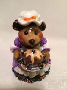 Wee Forest Folk Special Color Halloween Plum Pudding Bear With Spider