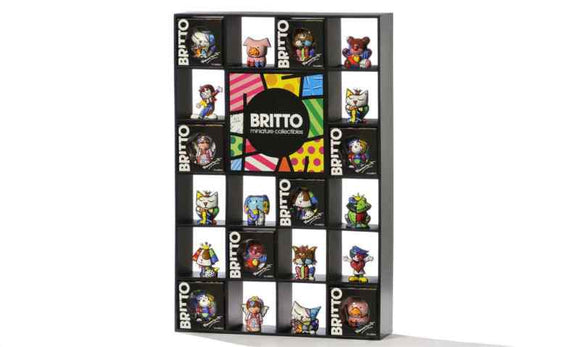 ROMERO BRITTO SET OF 12 1ST EDITION MINI'S WITH DISPLAY + BOOK