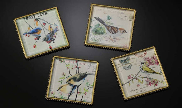 Botanical Bird Plaques/Coasters Set of 4
