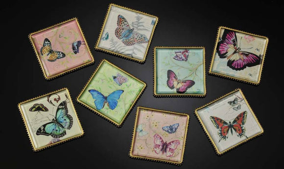Botanical Butterfly Plaques/Coasters Set Of 8