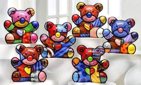 ROMERO BRITTO COMPLETE SET OF ALL 6 BEAR FIGURINES
