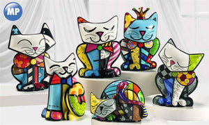 ROMERO BRITTO COMPLETE SET OF ALL  6 CAT FIGURINES