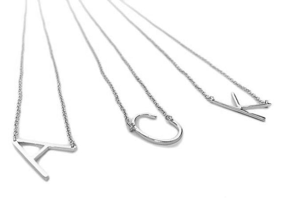 Sideways Single Initial Necklace In Sterling Silver