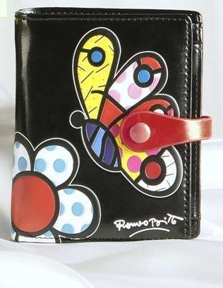ROMERO BRITTO SMALL BLACK WITH BUTTERFLY  Wallet /Billfold