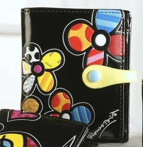 ROMERO BRITTO SMALL BLACK WITH FLOWERS  Wallet / Billfold
