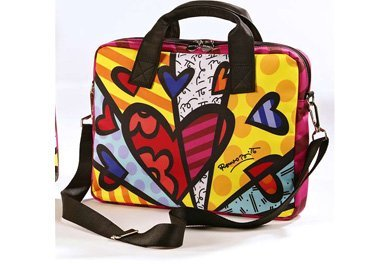 ROMERO BRITTO LAPTOP/IPAD MEDIUM CARRYING CASE WITH HEARTS