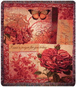 Spring Blooms With Verse Tapestry Throw