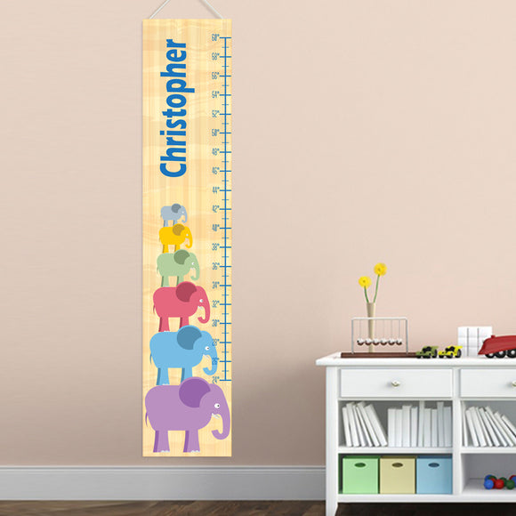 Personalized Stacked Elephant Boy Growth Chart