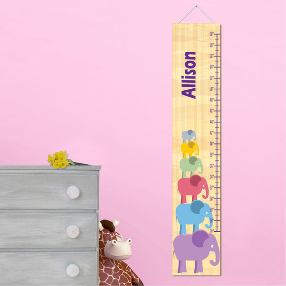 Personalized Stacked Elephant Girl Growth Chart