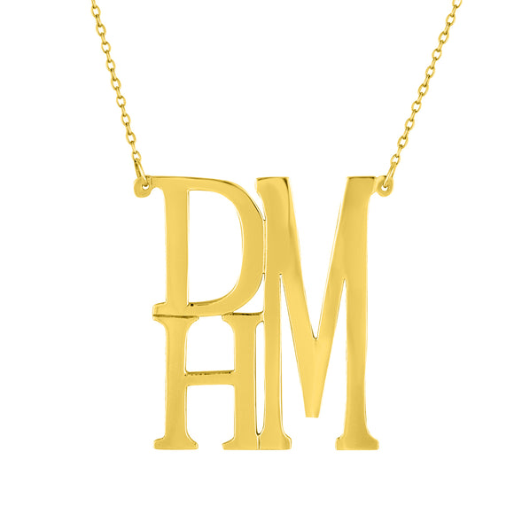 Stacked Monogram Necklace In Gold