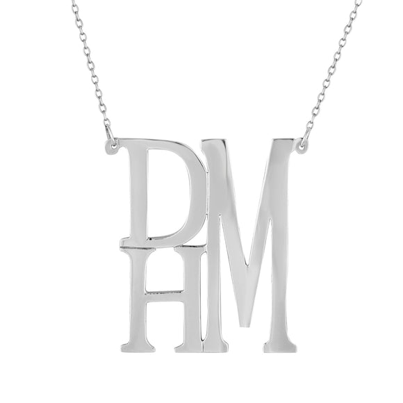 Stacked Monogram Necklace In Sterling Silver
