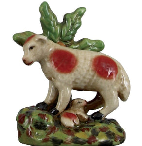 Staffordshire Reproduction Sheep Under Tree Figurine