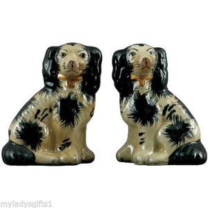 Staffordshire King Charles Spaniel Dog Pair Small Figurines