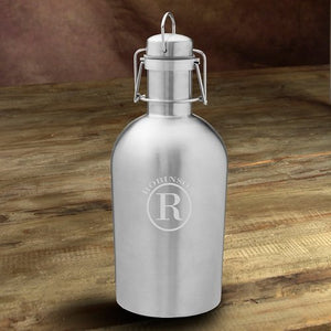 Personalized Insulated Stainless Steel Beer Growler With Circle Monogram
