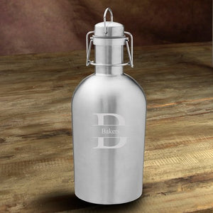Personalized Insulated Stainless Steel Beer Growler With Stamped Monogram