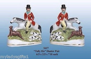 Set of 2 Porcelain Tally Ho Hunt Scene Figurines on Horses w/ Dogs