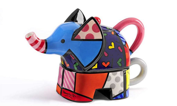 ROMERO BRITTO CERAMIC TEA FOR ONE ELEPHANT TEAPOT