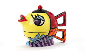 ROMERO BRITTO CERAMIC TEA FOR ONE FISH TEAPOT