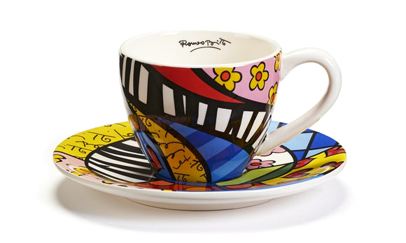 ROMERO BRITTO CERAMIC TEACUP & SAUCER SET- SWIRL PATTERN DESIGN
