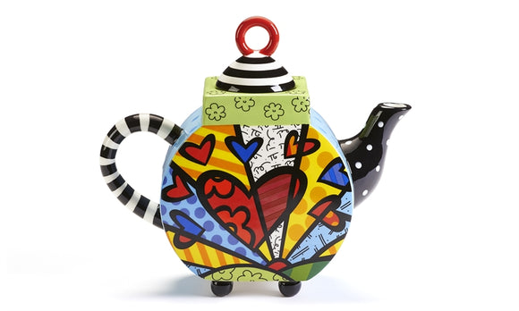 ROMERO BRITTO CERAMIC TEAPOT- A NEW DAY DESIGN W/BLACK STRIPED HANDLE