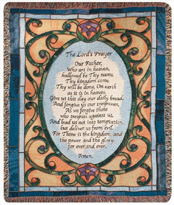 THE LORD'S PRAYER W/ STAINED GLASS SCENE TAPESTRY THROW
