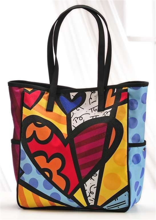 Romero Britto Hearts Tote Bag With Pockets on Outside