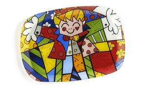 ROMERO BRITTO PAINTED GLASS SERVING PLATE- HUG DESIGN