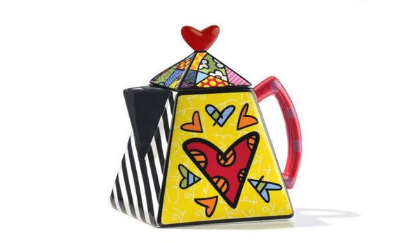 ROMERO BRITTO CERAMIC 2-HEART TEAPOT